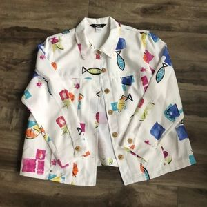 Vintage Light Jacket with Fishes